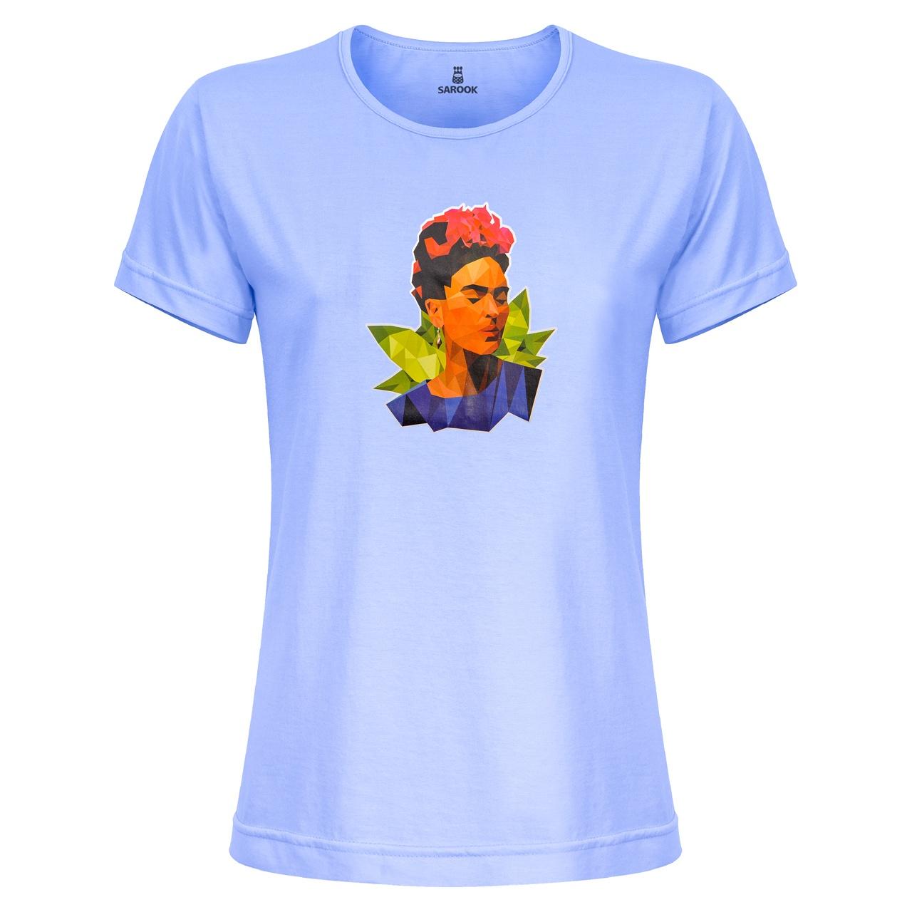 تی شرت زنانه ساروک مدل TZYUYRCH-Frida010 رنگ آبی