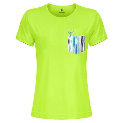 تی شرت زنانه ساروک مدل TZYUYRCH-Whale 02 رنگ فسفری
