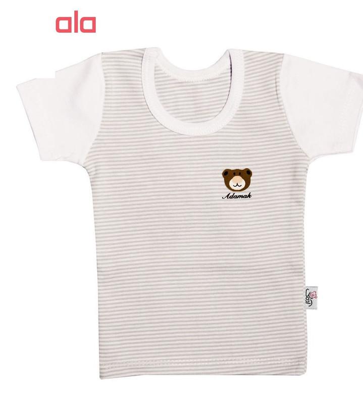 ست تی شرت و شلوار نوزادی آدمک طرح  راه راه رنگ طوسی