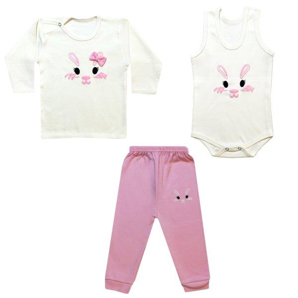 ست 3 تکه لباس نوزاد طرح خرگوش کد FBF-01