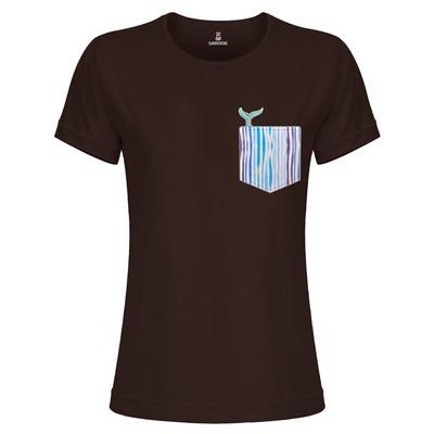 تی شرت زنانه ساروک مدل TZYUYRCH-Whale 08 رنگ قهوه ای