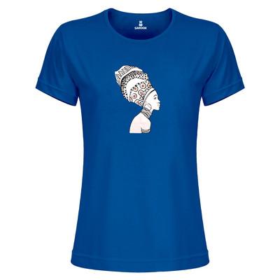 تی شرت زنانه ساروک مدل TZYUYRCH- African 07 رنگ آبی کاربنی