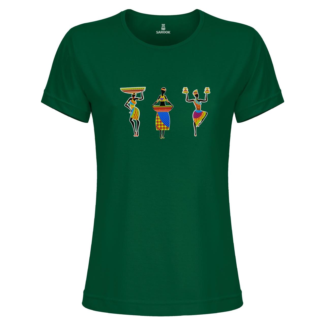 تی شرت زنانه ساروک مدل TZYUYRCH- 3AfricanO 08 رنگ یشمی