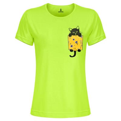 تی شرت زنانه ساروک مدل TZYUYRCH-CAT 01 رنگ فسفری