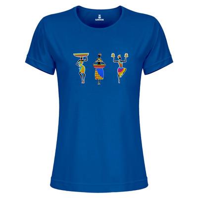 تی شرت زنانه ساروک مدل TZYUYRCH- 3AfricanO 011 رنگ آبی کاربنی