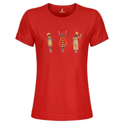 تصویر تی شرت زنانه ساروک مدل TZYUYRCH- 3AfricanV 04 رنگ قرمز