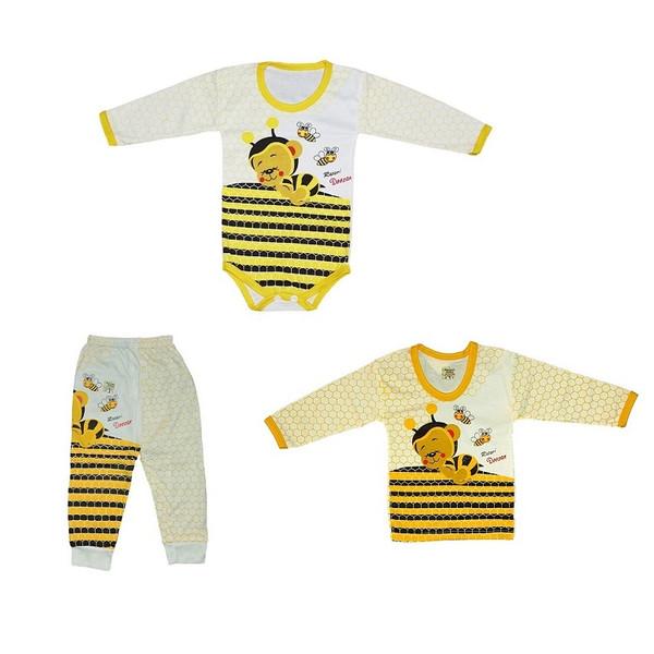 ست 3 تکه لباس نوزادی طرح زنبور