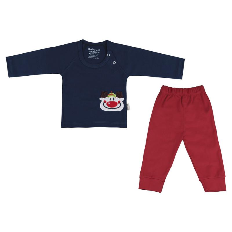 ست تی شرت و شلوار نوزادی پسرانه طرح دلقک کد 66