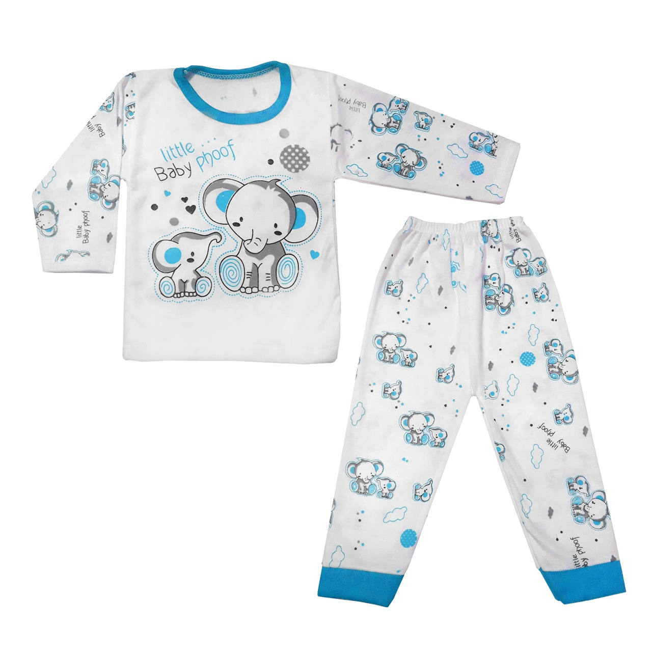 ست تی شرت و شلوار  نوزادی طرح فیل کد BL0