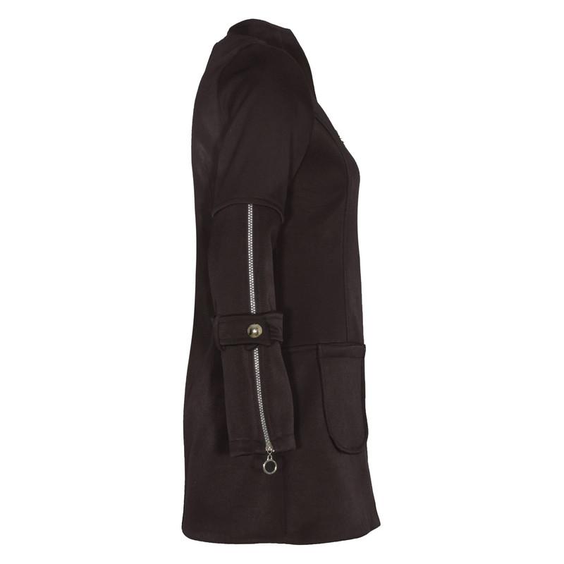 پالتو زنانه ونوس مدل پردیس رنگ قهوه ای تیره