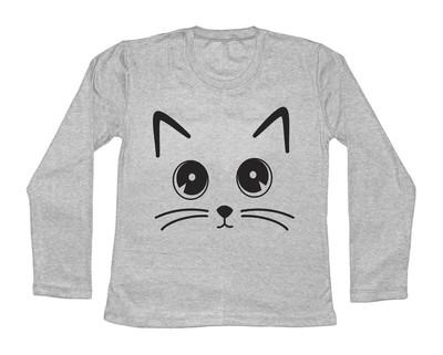 Photo of تی شرت آستین بلند زنانه طرح چشم گربه رنگ طوسی روشن