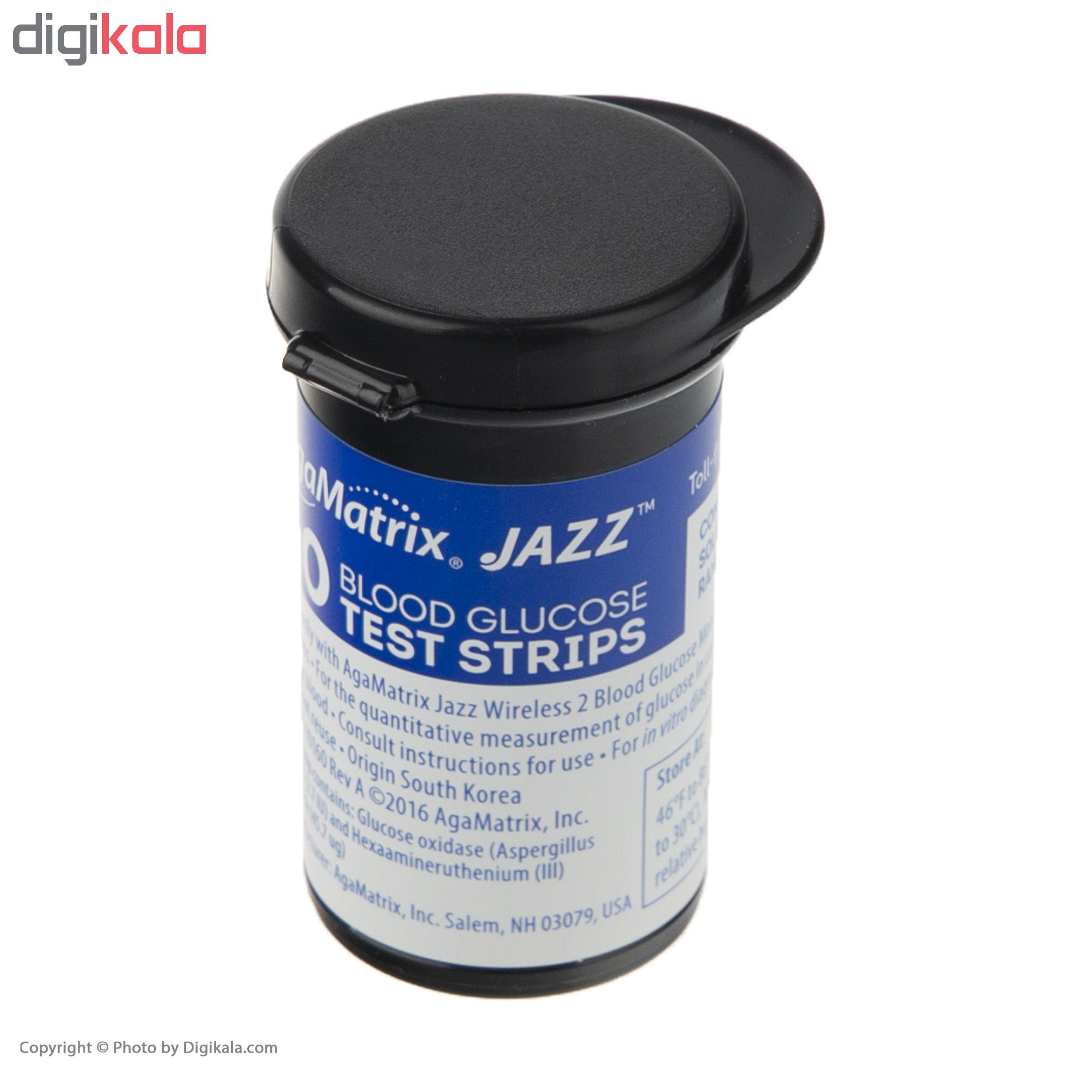 دستگاه تست قند خون آگاماتریکس مدل AgaMatrix Jazz Wireless 2 به همراه نوار بسته 50 عددی و سوزن بسته 100 عددی
