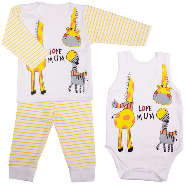 ست 3 تکه لباس نوزادی طرح زرافه کوچولو