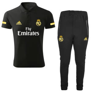 ست پولوشرت و شلوار مردانه رئال مادرید طرح real کد R1021 رنگ مشکی
