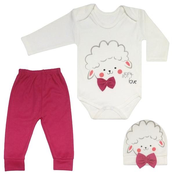 ست 3 تکه لباس نوزادی طرح بره کد M117