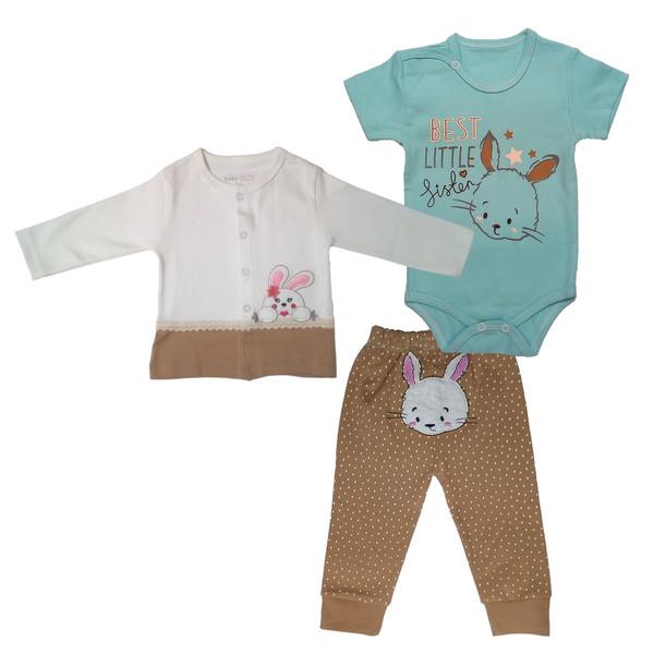 ست 3 تکه لباس نوزاد بیبی وان طرح خرگوشی