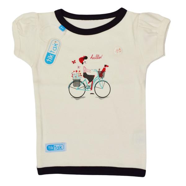 تیشرت آستین کوتاه نوزادی تیک تاک طرح دوچرخه کد 02