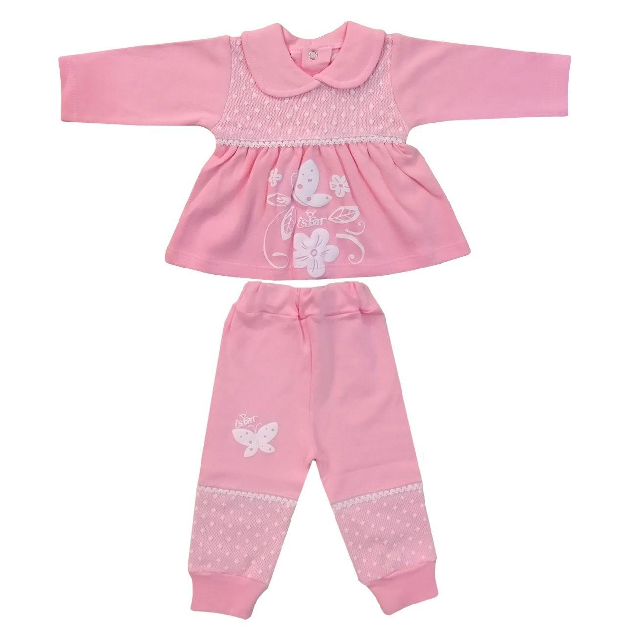 ست تیشرت و شلوار نوزادی دخترانه کد 980908 رنگ صورتی -  - 2