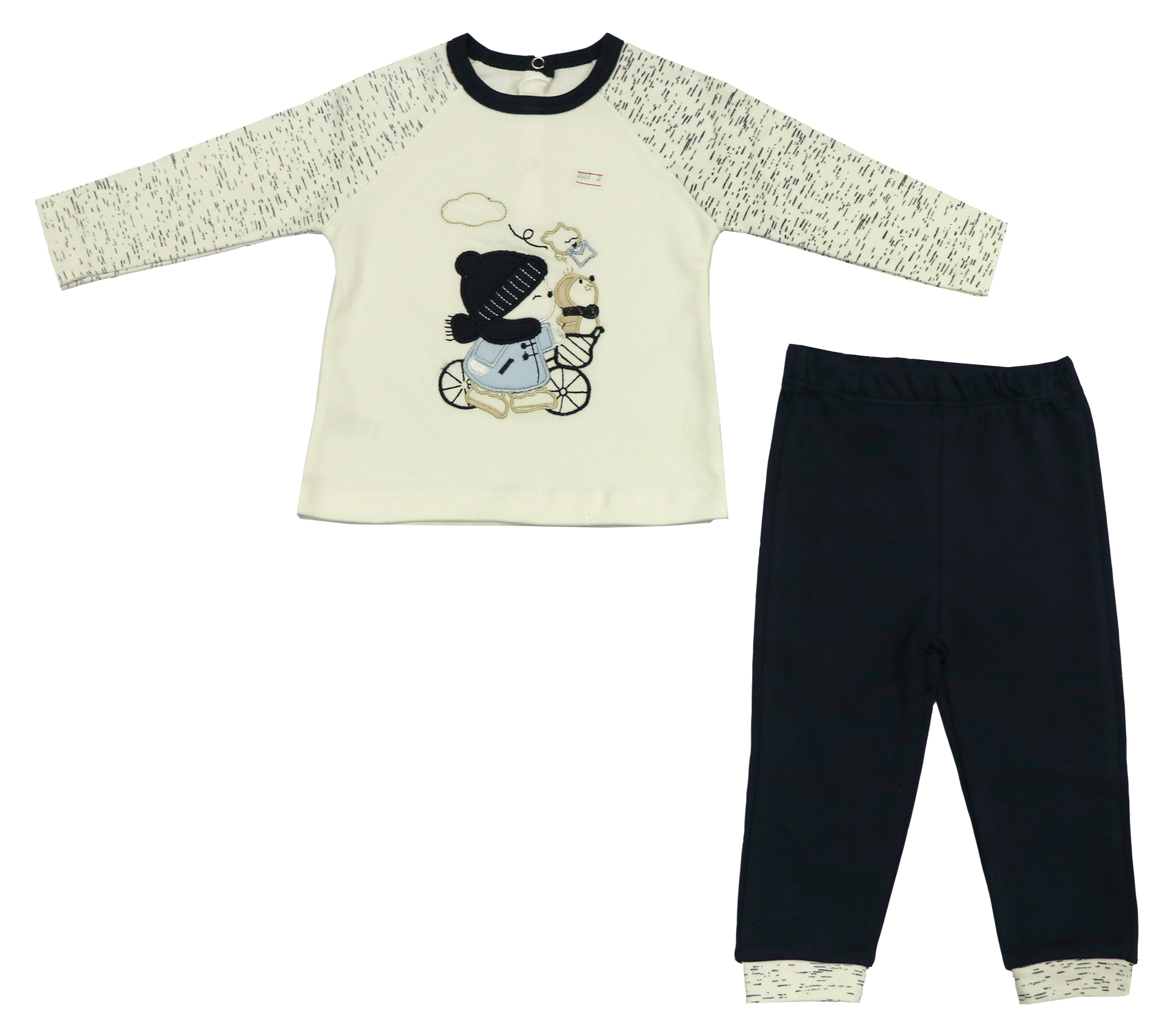 تی شرت و شلوار نوزادی پسرانه طرح خرس مدل 3512