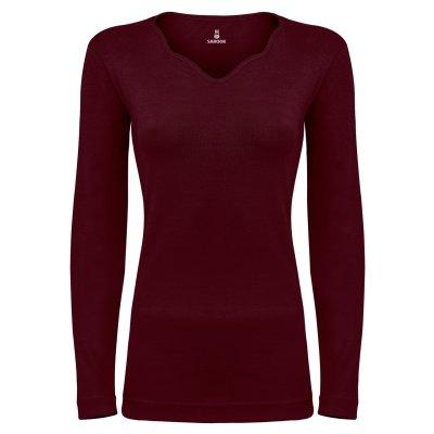 تی شرت آستین بلند زنانه ساروک مدل SZYDelFR06 رنگ زرشکی