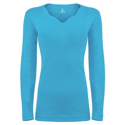 تی شرت آستین بلند زنانه ساروک مدل SZYDelFR09 رنگ فیروزه ای