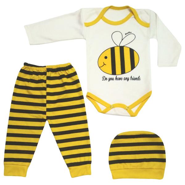 ست 3 تکه لباس نوزادی طرح زنبور کد M123