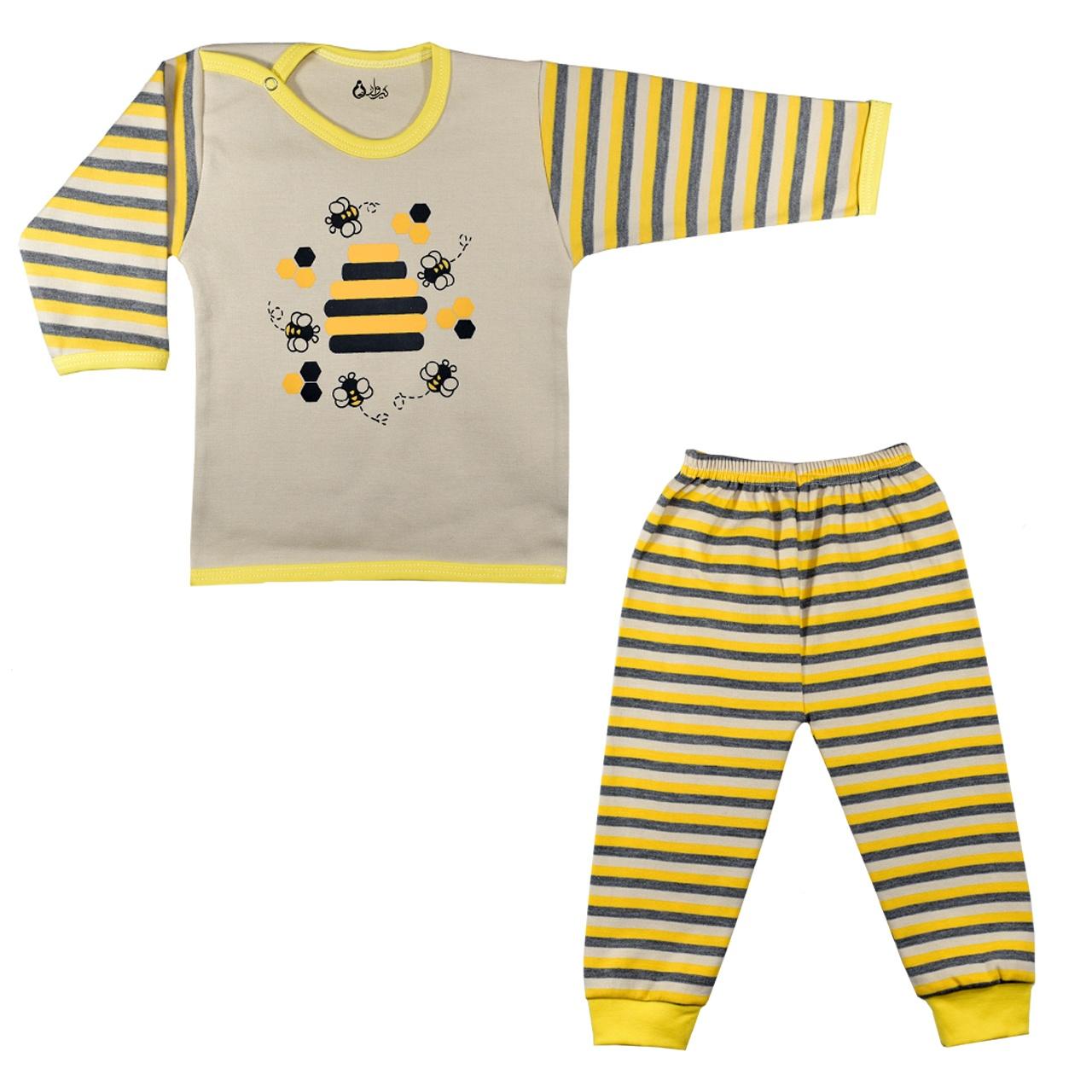 ست تی شرت و شلوار نوزادی نیروان طرح زنبور عسل کد 1