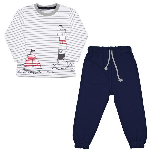 ست تی شرت و شلوار نوزادی پسرانه کد FN02 رنگ طوسی