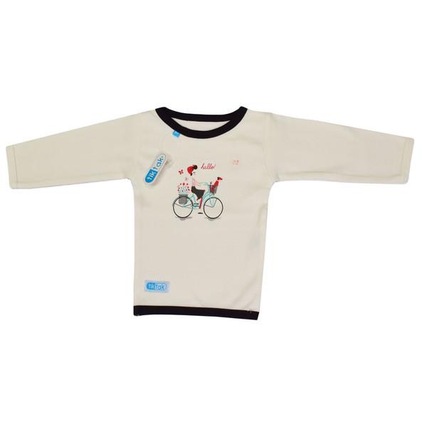 تیشرت آستین بلند نوزادی تیک تاک طرح دوچرخه کد 03