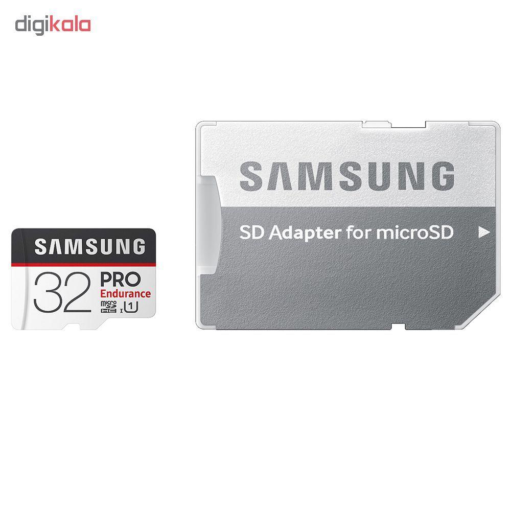 کارت حافظه microSDXC سامسونگ مدل PRO Endurance کلاس 10 استاندارد UHS-I U1 سرعت 80MBps ظرفیت 32 گیگابایت به همراه آداپتور SD main 1 1