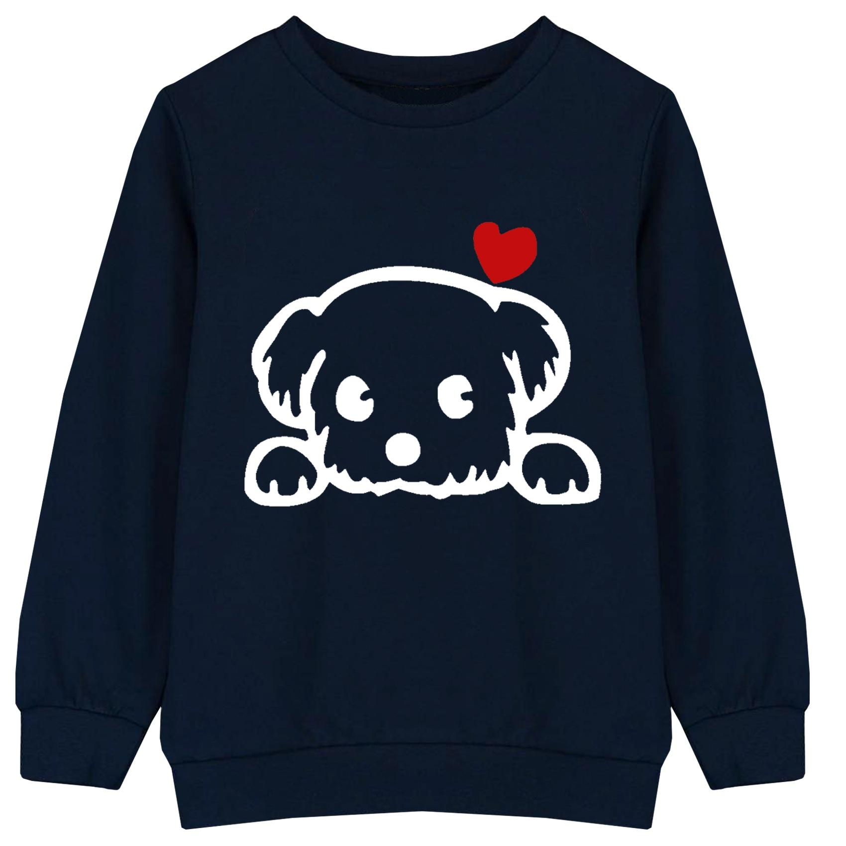 سویشرت پسرانه طرح سگ کد F04 رنگ سرمه ای