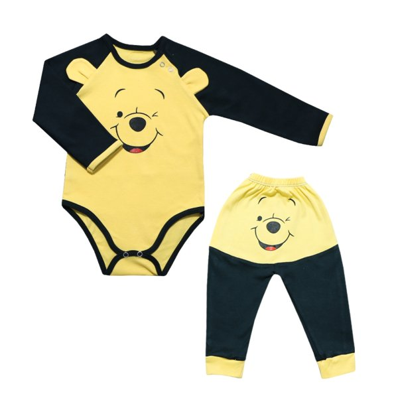 ست بادی آستین بلند و شلوار نوزادی طرح خرس بازیگوش کد SP-N01-01
