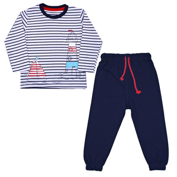 ست تی شرت و شلوار نوزادی پسرانه کد FN03 رنگ سرمه ای