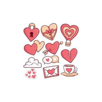استیکر لپ تاپ طرح قلب ها کد مجموعه ۱۰ عددی
