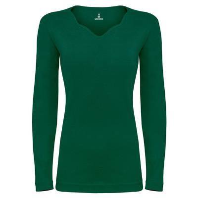 تی شرت آستین بلند زنانه ساروک مدل SZYDelFR02 رنگ یشمی