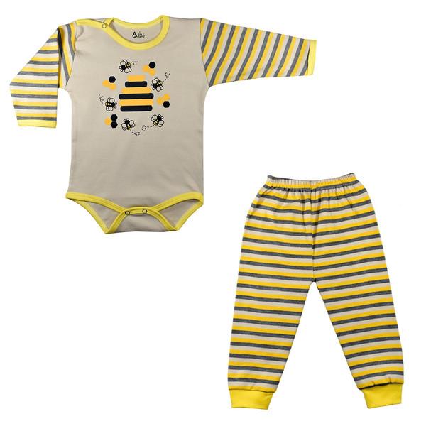 ست بادی و شلوار نوزادی نیروان طرح زنبور عسل کد 2
