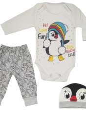 ست 3 تکه لباس نوزادی طرح پنگوئن کد M132 -  - 1