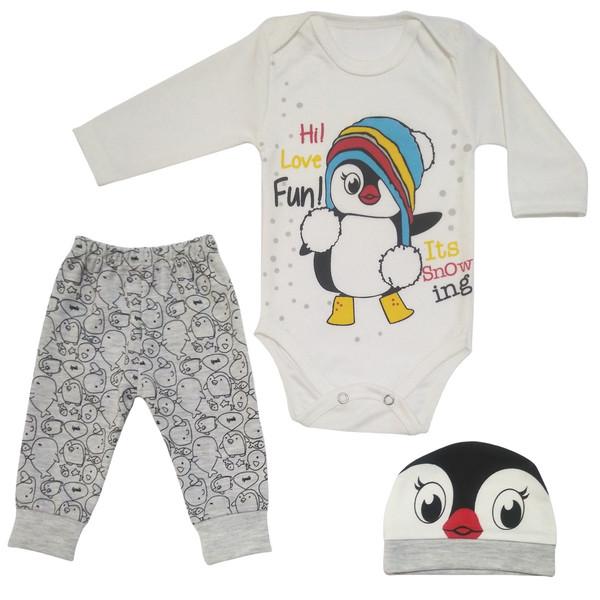 ست 3 تکه لباس نوزادی طرح پنگوئن کد M132