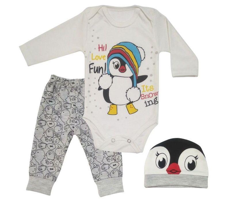 ست 3 تکه لباس نوزادی طرح پنگوئن کد M132 -  - 5