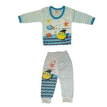 ست تی شرت و شلوار نوزادی طرح ماهی