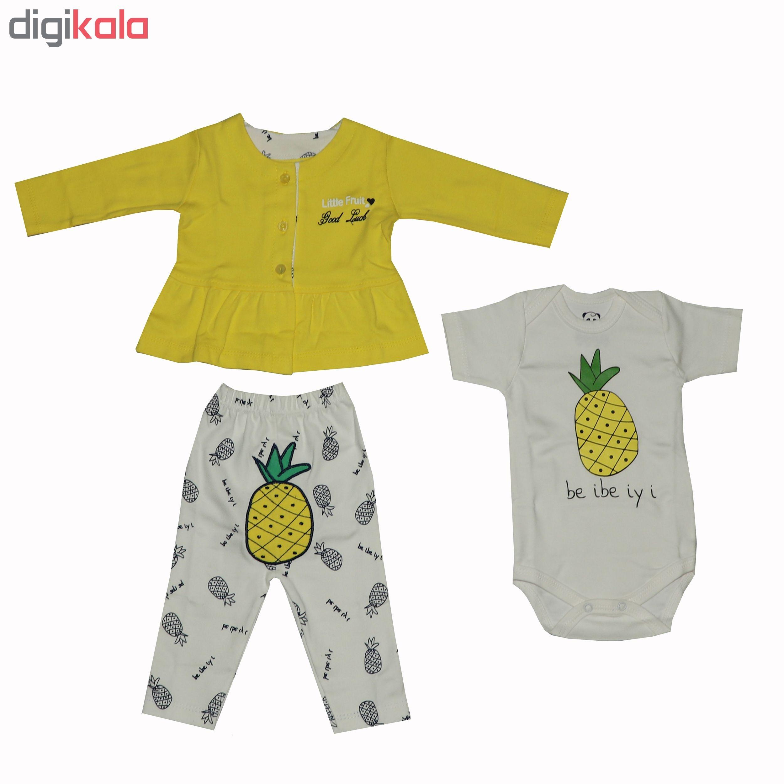 ست 3 تکه لباس نوزادی دخترانه طرح آناناس مدل 103