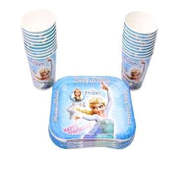 پیش دستی و لیوان یکبار مصرف ایرسا مدل Frozen بسته 20 عددی