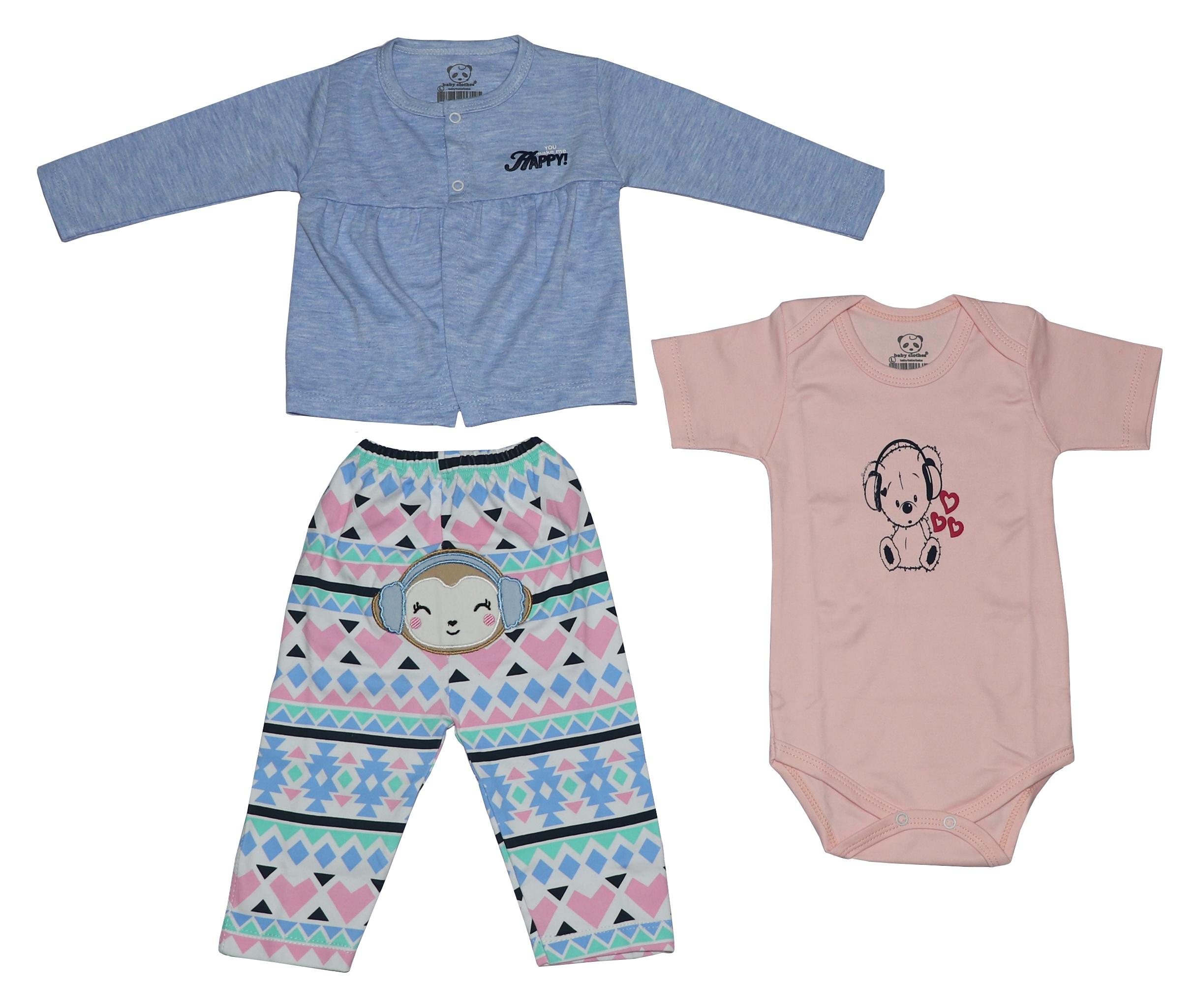 ست 3 تکه لباس نوزادی دخترانه طرح میمون کد 2021