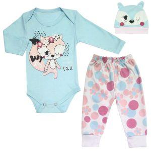 ست 3 تکه لباس نوزادی دخترانه طرح گربه کد M152