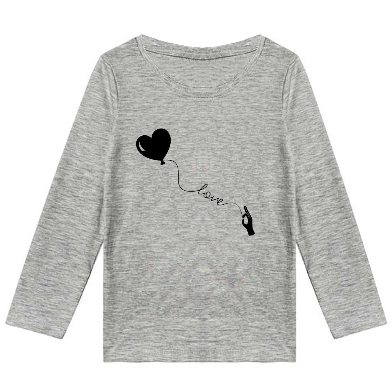 تیشرت آستین بلند  دخترانه طرح قلب کد F05