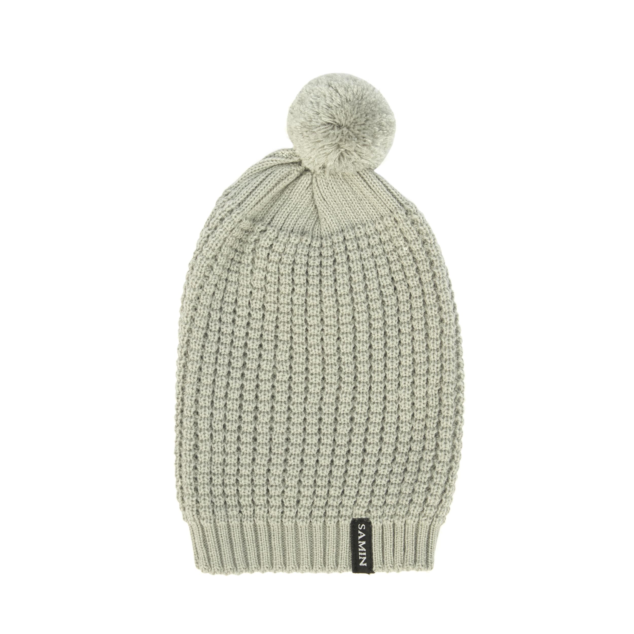کلاه بافتنی ثمین مدل Athena رنگ خاکستری