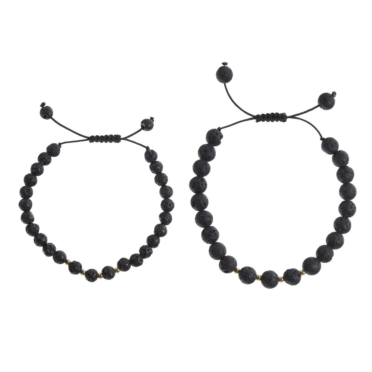 ست دستبند زنانه و مردانه طلا 18 عیار رزا مدل BS156