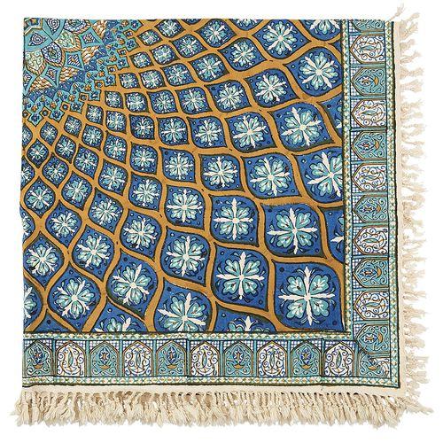 سفره قلمکار اثر زابلیان طرح شیخ لطف الله سایز 100 × 100 سانتی متر