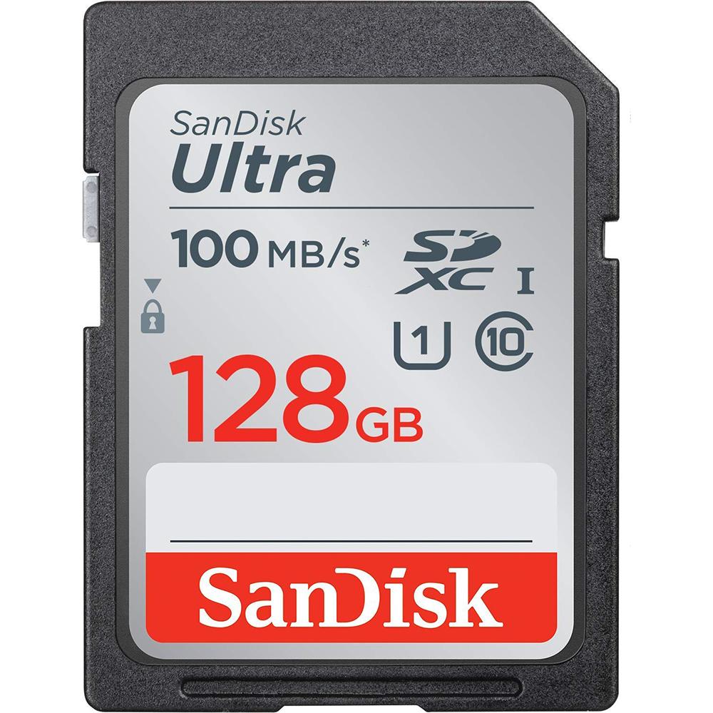 کارت حافظه SDXC سن دیسک مدل Ultra کلاس 10 استاندارد UHS-I U1 سرعت  100MBps ظرفیت 128 گیگابایت