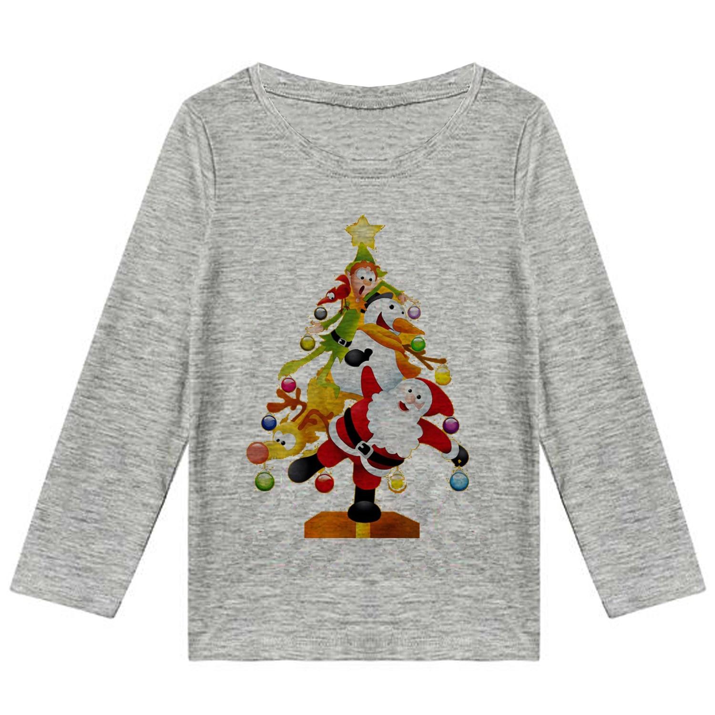 تیشرت آستین بلند دخترانه طرح بابانوئل کد F25